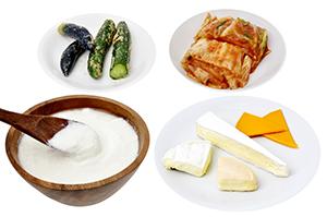 Food with live lactobacillus. Yogurt · Natural cheese · Kimchi